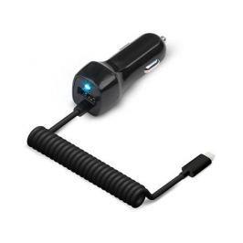 Универсальное зарядное устройство Jet.A от прикуривателя 12В-24В UC-I15 (1 USB-порт, 2.1А, встроенный кабель lightning 8 pin) Цвет - чёрный