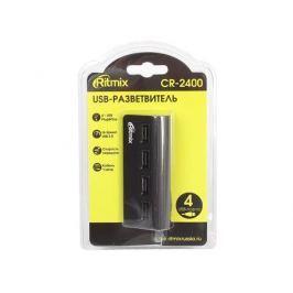 Концентратор USB Ritmix CR-2400 black, на 4 порта, кабель 1м, High speed USB 2.0, Plug-n-Play, скорость до 480 Мбит/с, черный, алюминиевый корпус