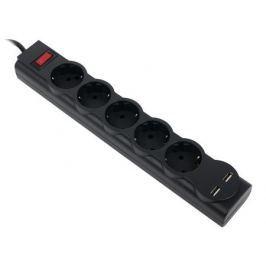 Сетевой фильтр Defender DFS 751 черный 1,8 м, 5 розеток, 2xUSB, 2.1A