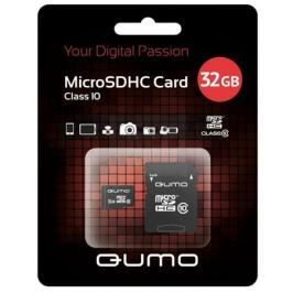 MicroSDHC QUMO 32Gb Class10 + Адаптер (QM32MICSDHC10)