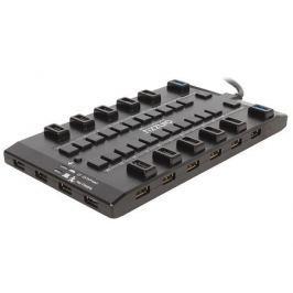 Концентратор USB 3.0/2.0 Ginzzu GR-328UAB, 28-ми портовый + адаптер GA-3020B (5В/4.0А)