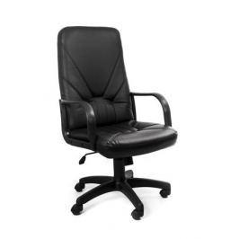 Кресло Recardo Leader (Чёрный, ЭКО КОЖА, 120кг, высота спинки 650мм, ВШГ 1070-1165*525*500мм, крест. пластик 640мм, подлокоткии пластик)