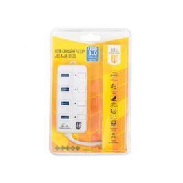 USB-концентратор Jet.A JA-UH35 на 4 порта USB 3.0, Hot Plug, с выключателями портов, белый