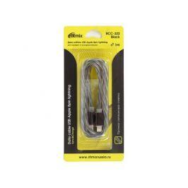 Кабель USB-Apple 8pin lightning Ritmix RCC-322 Black силиконовая оплетка, металлические коннекторы, 1м, 2А, зарядка и синхронизация