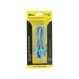 Кабель USB-Apple 8pin lightning Ritmix RCC-322 Blue, силиконовая оплетка, металлические коннекторы, 1м, 2А, зарядка и синхронизация