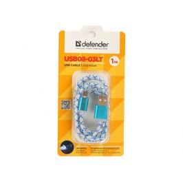 USB кабель USB08-03LT USB2.0 голубой, LED, AM-MicroBM, 1м