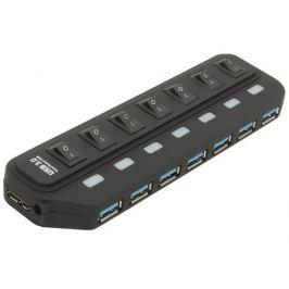 Концентратор USB 3.0 Orient 7 Port Orient BC-316 c внешним БП (5V, 3A), выключатели на каждый порт, черный