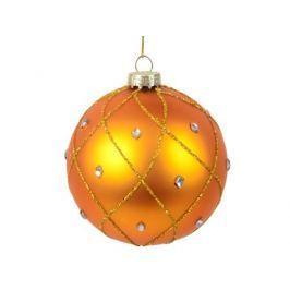 Украшение елочное шар ПАВЛИН, матовый со стразами, золотой, 1 шт., 8 см,стекло