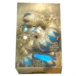 Набор украшений елочных стеклянных СЕРДЦЕ, блестящих, 10 шт. в прозрачной коробке, 4 см, 5 цв.