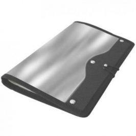 Визитница настольная на резинке, блок 120 визиток, 230х140 мм, пластик, серебряная