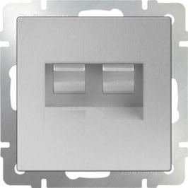 Розетка двойная Ethernet RJ-45 серебряный WL06-RJ45+RJ45 4690389073540