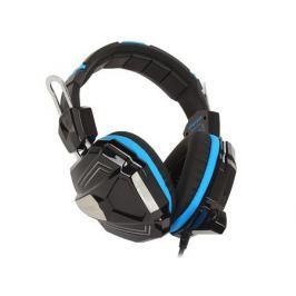 Игровая стереогарнитура с LED-подсветкой Jet.A GHP-300 чёрно-синяя (звуковая схема 2.0, управление на наушнике, 2x mini jack 3.5мм 3pin+USB + адаптер
