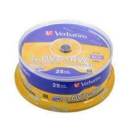 DVD+RW Verbatim 4.7Gb 4x 25шт Cake Box