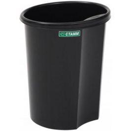 Корзина для бумаг, цельнолитая, с боковым выступом, черная, 12 литров