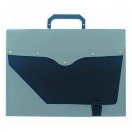 Папка-портфель без отделений, А4, серебряная с черным клапаном