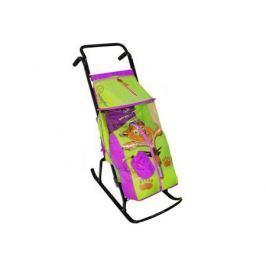 Санки-коляска RT Снегурочка 2-Р Медвежонок до 50 кг сталь сиреневый салатовый