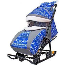 Санки-коляска Snow Galaxy LUXE Зимняя ночь Олени 6080 до 25 кг ткань металл синий серый рисунок черн