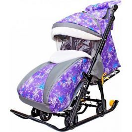 Санки-коляска SNOW GALAXY LUXE Елки на фиолетовом на больших мягких колесах+сумка+муфта
