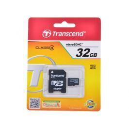 MicroSDHC Transcend 32GB Class 4 + Адаптер (TS32GUSDHC4)