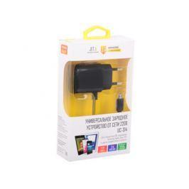 Универсальное зарядное устройство Jet.A от сети 220В UC-S14 (2 USB-портa, 2.1А, встроенный кабель micro USB) Цвет - чёрный