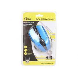 Мышь беспроводная Ritmix RMW-560 Black+Blue, 1000DPI, 2.4 Ггц, Кнопки: 3+1 колесо, радиус действия: 10 м., 2 AAА (не входят), блистер