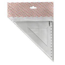 Треугольник 45*, длина 12 см,прозрачный,пластиковый,в инд.пакете с европодвесом