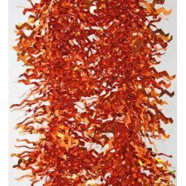Мишура одноцветная голограмма, оранжевая, блестящая, 100 мм, длина 2 м