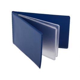 Визитница на 24 визитки, разм.7х11,5 см, темно-синяя, PVC