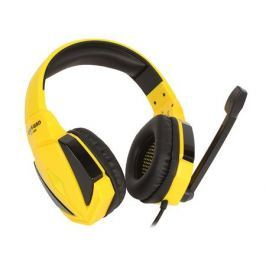 Игровая стереогарнитура Jet.A GHP-100 чёрно-жёлтая (звуковая схема 2.0, ПУ на шнуре, mini jack 3.5мм 4pin + адаптер 2x mini jack 3.5мм 3pin, кабель 2.