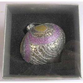 Украшение елочное шар ЛУКОВИЦА ПАВЛИН, серебряный с фиолетовым, 1 шт., 8 см, стекло