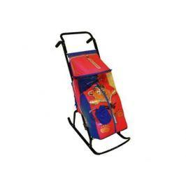 Санки-коляска RT Снегурочка 2-Р Медвежонок до 50 кг сталь синий красный