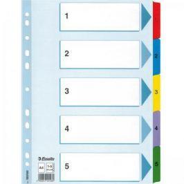 Разделитель Mylar картонный, цветной, А4, цифровой 1 - 5 разделов 100160*