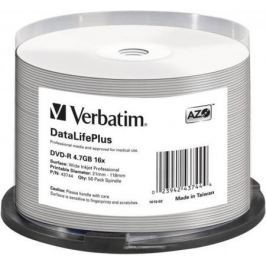 Диски DVD-R Verbatim 16x 4.7Gb Cake Box 50шт Printable 43744