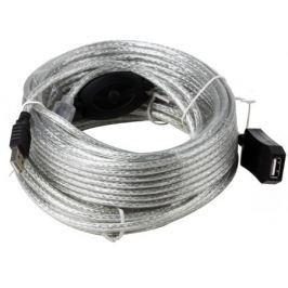 Кабель удлинитель активный(с усилителем) USB2.0-repeater, AM/AF 15м Aopen(ACU823-15M)