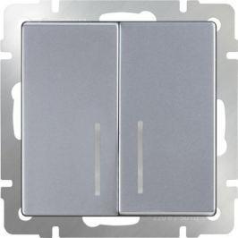 Выключатель двухклавишный с подсветкой серебряный WL06-SW-2G-LED 4690389053870