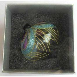 Украшение елочное шар ЛУКОВИЦА ПАВЛИН, прозрачный, голубой с фиолетовым, 1 шт., 8 см, стекло