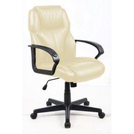 Кресло офисное COLLEGE HLC-0601 Бежевый, экокожа, 120 кг, подлокотники черный пластик/кожа, крестовина черный пластик, (ШxГxВ), см 62x70x108-118 Кресл