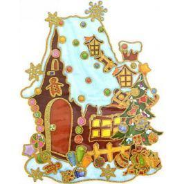 Наклейка панно ДОМИК С ЕЛКОЙ, прозрачная цветная с блестящей крошкой, 20х26 см , ПВХ