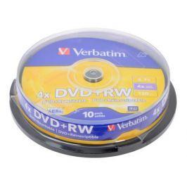 DVD+RW Verbatim 4.7Gb 4x 10шт Cake Box