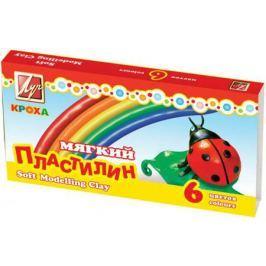 Пластилин КРОХА мягкий, 6 цв.