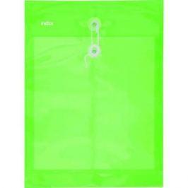 Папка-конверт на завязках, зеленая, A4