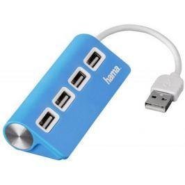 Концентратор USB Hama H-12179 4 порта USB2.0 голубой