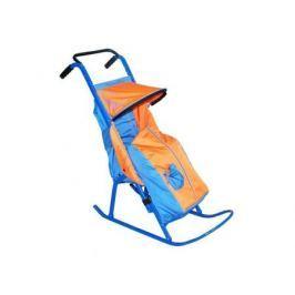 Санки-коляска — Снегурочка 2-Р1Снежинки до 50 кг сталь голубой оранжевый