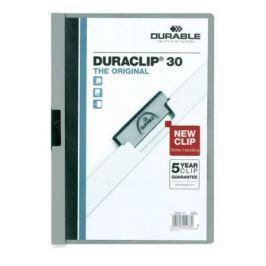 Папка DURACLIP ORIGINAL 30 с клипом, верхний лист прозрачный, серая, на 30 листов