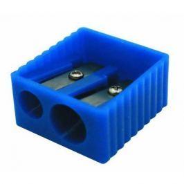 Точилка пластмассовая, двойная, прямоугольная форма, боковое рифление, 4 цв. ассорти ISH002