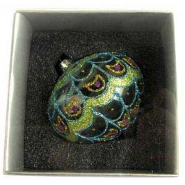Украшение елочное шар ЛУКОВИЦА ПАВЛИН, ажурный, прозрачный, 1 шт., 8 см, стекло