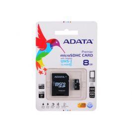 MicroSDHC A-Data 8Gb Class10 UHS-I + Адаптер (AUSDH8GUICL10-RA1)