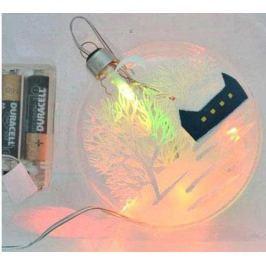 Украшение елочное ДИСК ЗИМНИЙ ПЕЙЗАЖ с LED, 1 шт, 10 см, в карт.кор, стекло