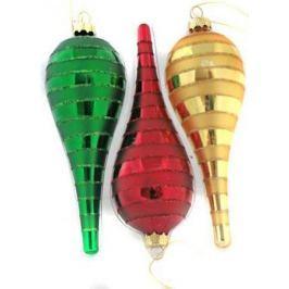 Набор украшений елочных ПОДВЕСКА, стеклянная, 2 шт. в прозрачной коробке, 13 см, 3 цв., 2 вида
