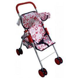 Прогулочная коляска для кукол с корзиной Красотка бело-красный принт Т57313